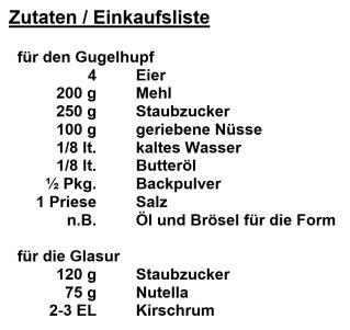 Zutaten - Gugelhupf