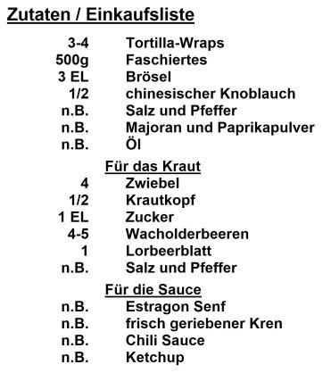 Zutaten - Alpen Tortilla-Wraps