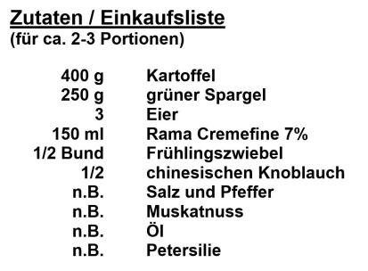 Zutaten - Spargel-Kartoffel-Auflauf
