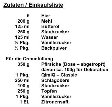 Zutaten - Pfirischtraum