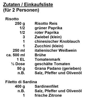 Zutaten - Filetto die Sardina