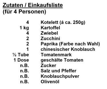 Zutaten - Kotelett mit Offenkartoffel und Letscho