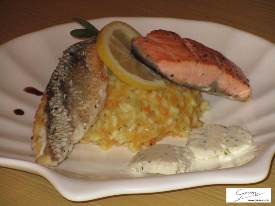 Duetto di branzino e salmone - A