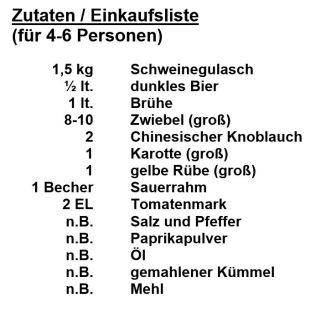 Zutaten - Biergulasch