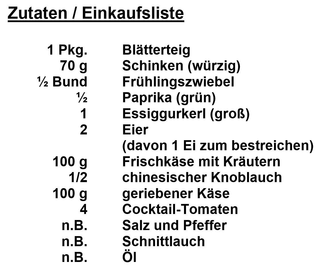 Zutaten - Blätterteigschneckerln