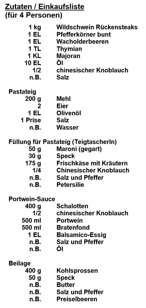 Zutaten - Wildschein-Rückensteak
