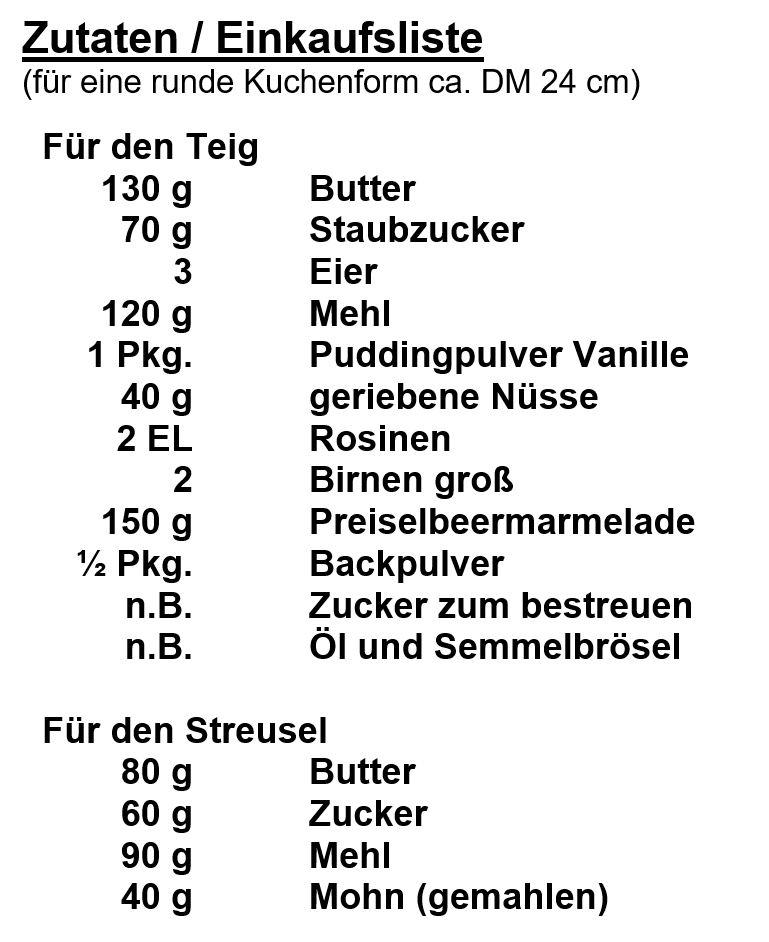 Zutaten - Birnen-Mohn Streuselkuchen
