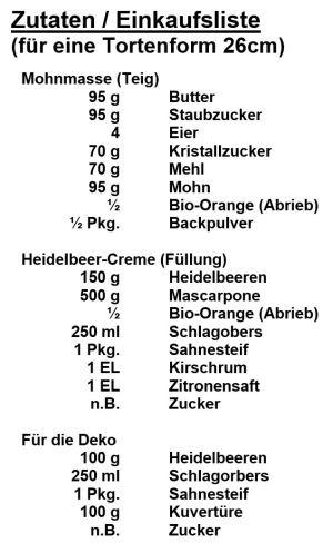 Zutaten - Heidelbeer-Mohn-Torte